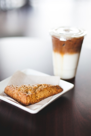 Savory Scone and Bourbon Caramel Latte Photo courtesy of K.T. Lopez Photography
